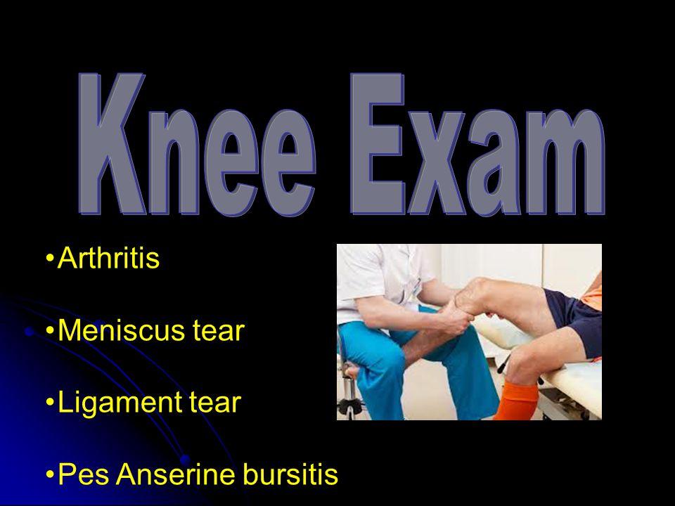 Arthritis Meniscus tear Ligament tear Pes Anserine bursitis