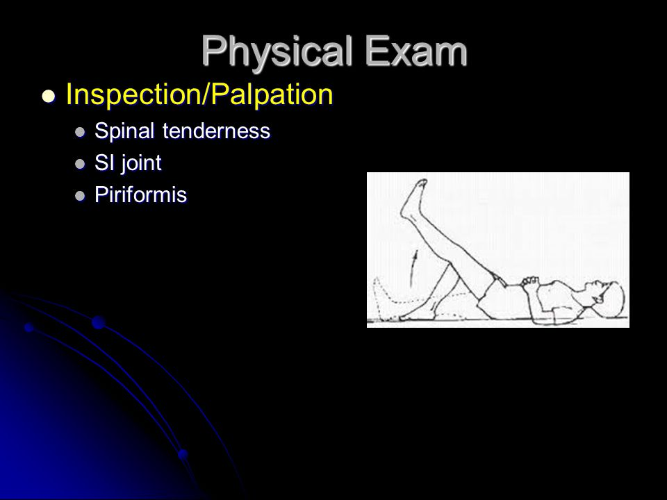 Physical Exam Inspection/Palpation Inspection/Palpation Spinal tenderness Spinal tenderness SI joint SI joint Piriformis Piriformis