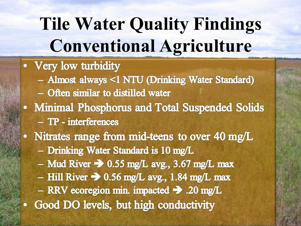Tile Water Quality Findings Conventional Agriculture