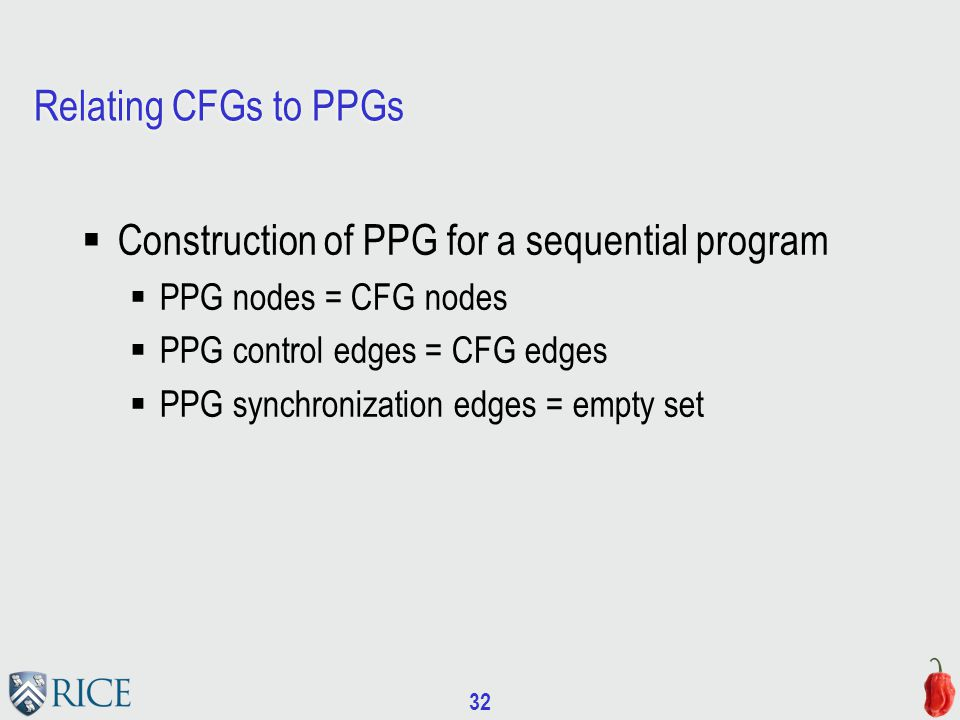 32 Relating CFGs to PPGs  Construction of PPG for a sequential program  PPG nodes = CFG nodes  PPG control edges = CFG edges  PPG synchronization edges = empty set