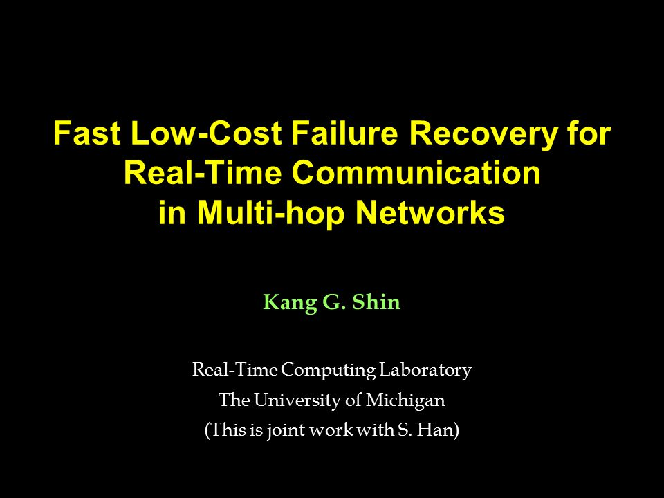 Deterministic Resource Sharing Failure hypothesis: –The type and max number of failures are predetermined (e.g., single link failure model).