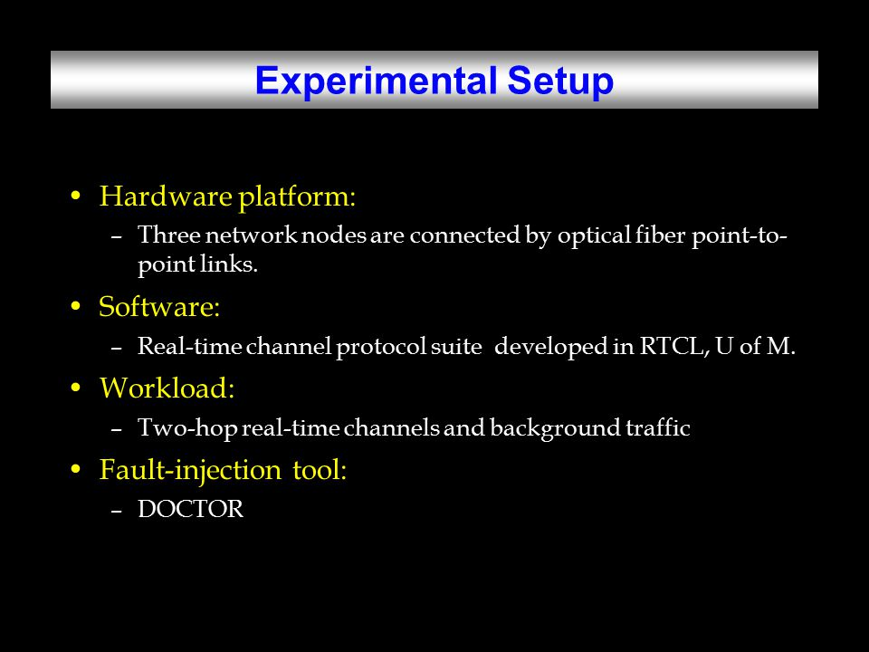 Experimental Setup Hardware platform: –Three network nodes are connected by optical fiber point-to- point links.
