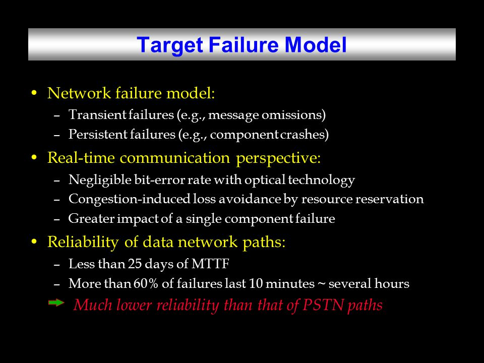 Fault Injection DOCTOR, an integrated fault-injection tool set: –Software-implemented fault injector –Hardware-aided data monitor (HMON) –Fault-selection tool Specifications of injected faults: –Transient faults into NP of Node 2 at OS task scheduler, clock service, network adapter driver, and real-time channel protocol.