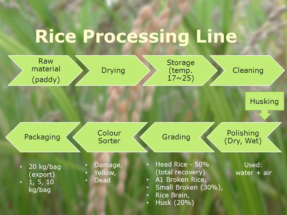 Rice Processing Line Raw material (paddy) Drying Storage (temp.
