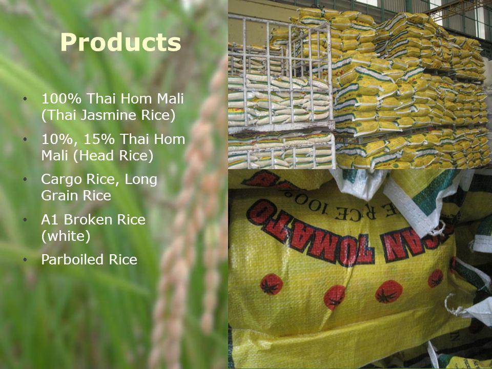Products 100% Thai Hom Mali (Thai Jasmine Rice) 10%, 15% Thai Hom Mali (Head Rice) Cargo Rice, Long Grain Rice A1 Broken Rice (white) Parboiled Rice