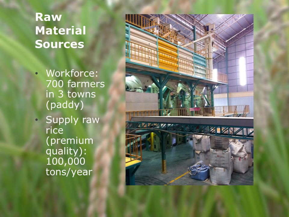 Raw Material Sources Workforce: 700 farmers in 3 towns (paddy) Supply raw rice (premium quality): 100,000 tons/year