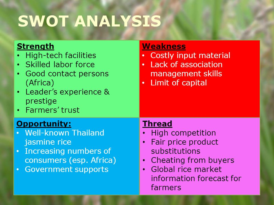 9 Strength High-tech facilities Skilled labor force Good contact persons (Africa) Leader's experience & prestige Farmers' trust Weakness Costly input material Lack of association management skills Limit of capital Opportunity: Well-known Thailand jasmine rice Increasing numbers of consumers (esp.
