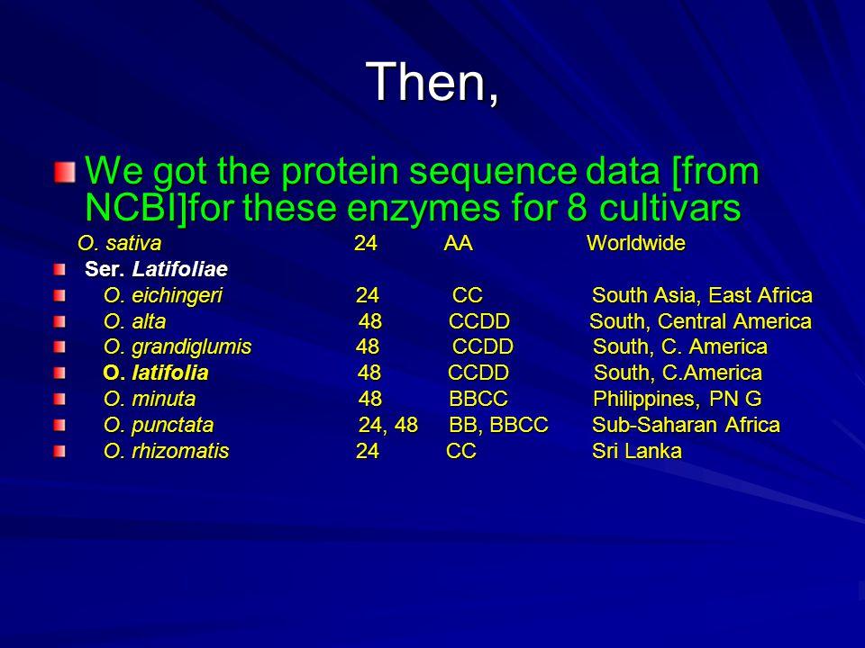Then, We got the protein sequence data [from NCBI]for these enzymes for 8 cultivars O.