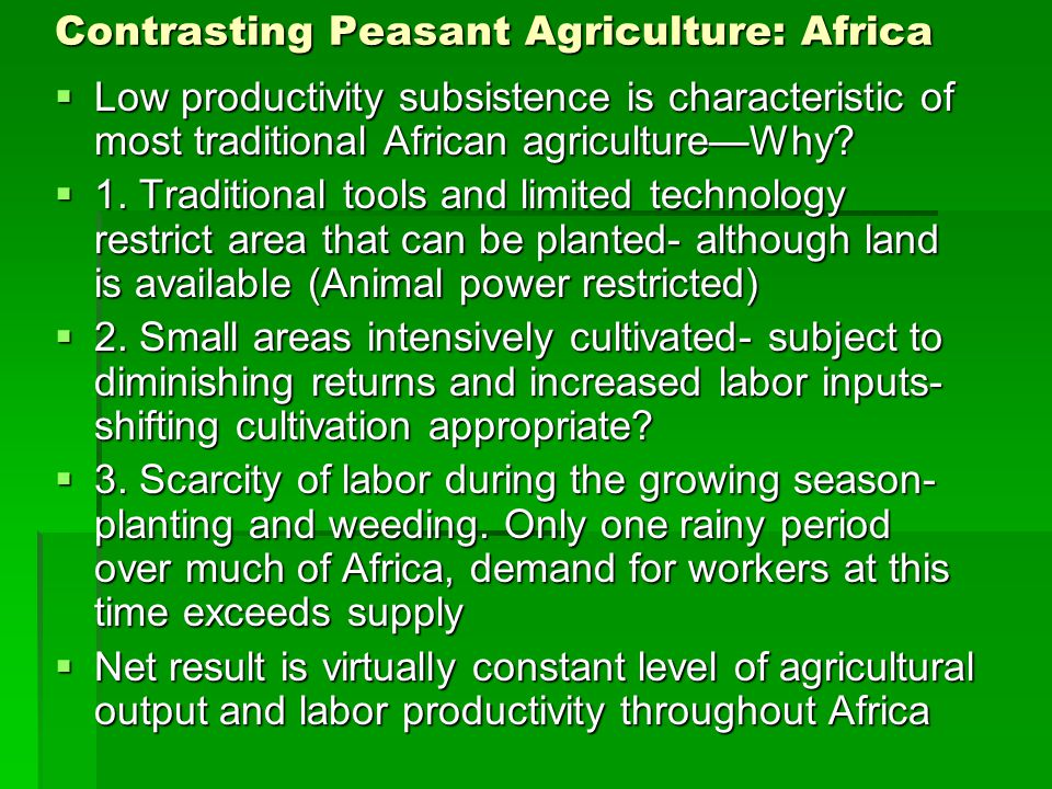 Contrasting Peasant Agriculture: Africa  Low productivity subsistence is characteristic of most traditional African agriculture—Why.