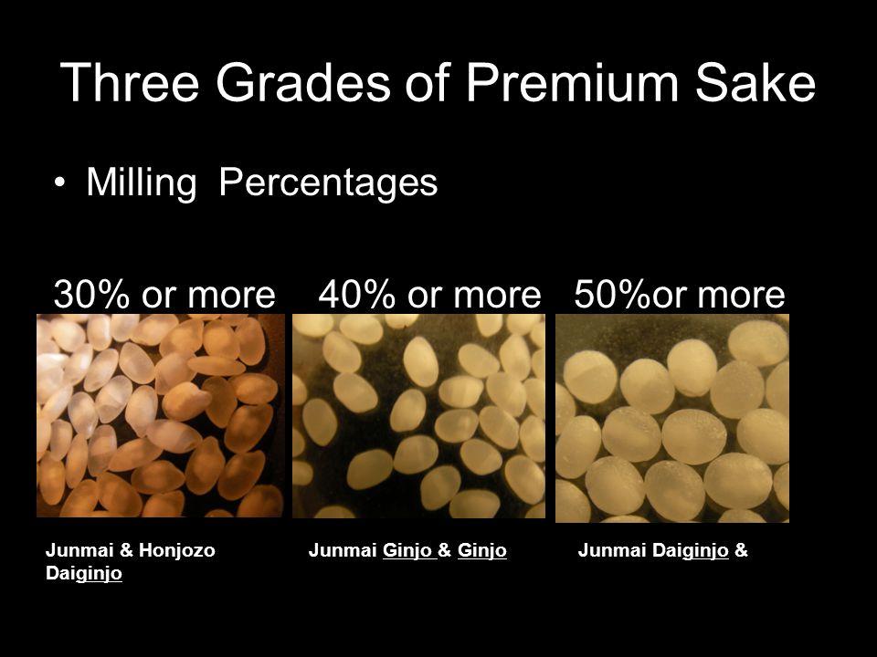Three Grades of Premium Sake Milling Percentages 30% or more 40% or more 50%or more Junmai & Honjozo Junmai Ginjo & Ginjo Junmai Daiginjo & Daiginjo