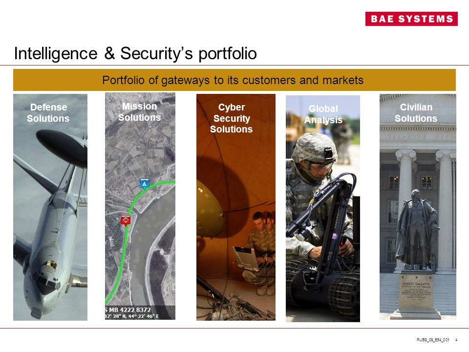PUBS_09_E54_001 4 Intelligence & Security's portfolio Portfolio of gateways to its customers and markets Cyber Security Solutions Global Analysis Civi