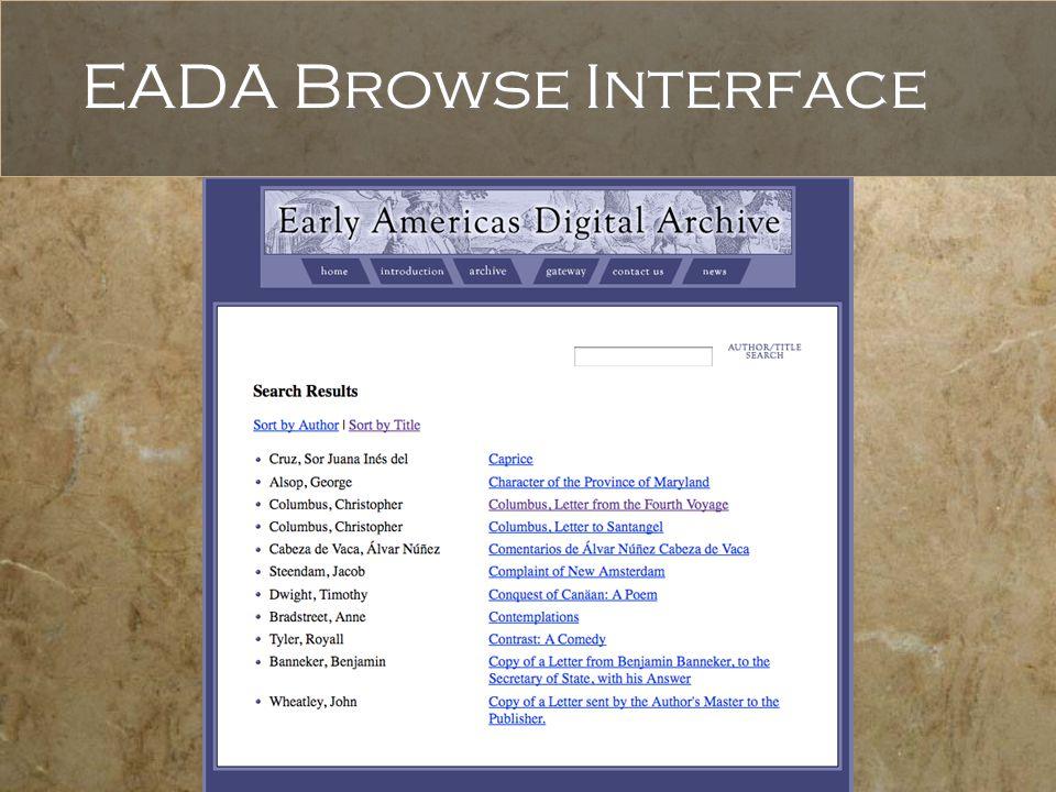 EADA Browse Interface