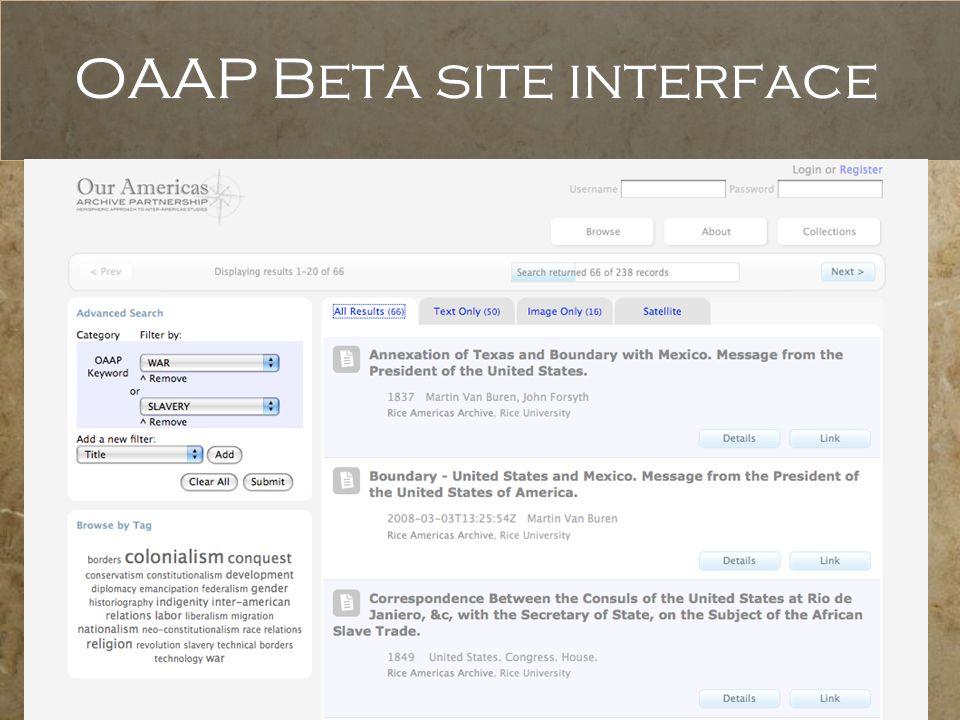 OAAP Beta site interface