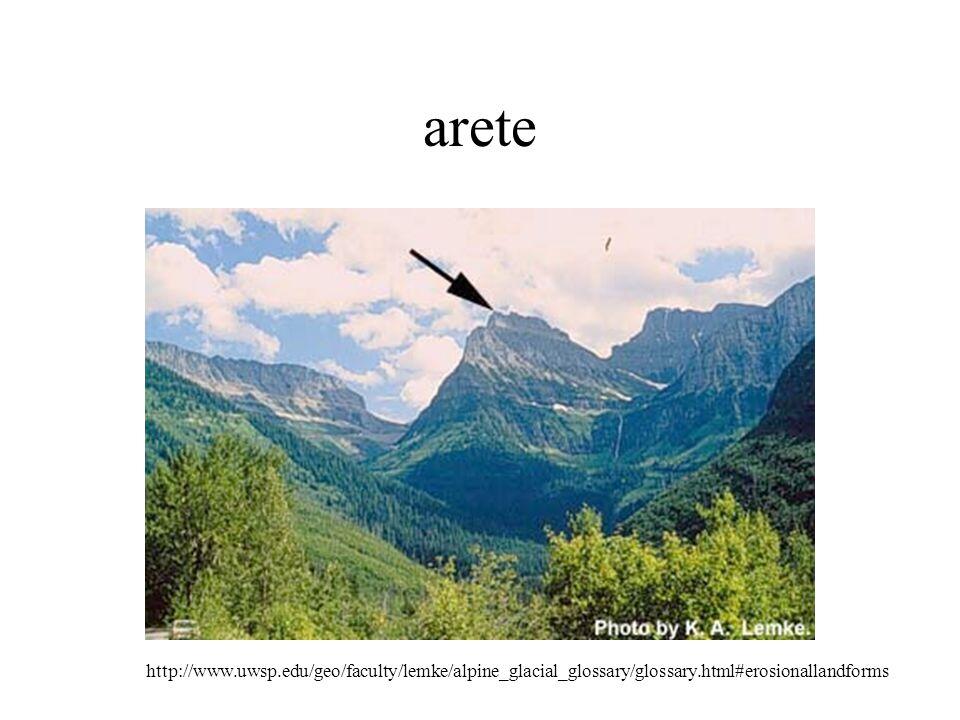 arete http://www.uwsp.edu/geo/faculty/lemke/alpine_glacial_glossary/glossary.html#erosionallandforms