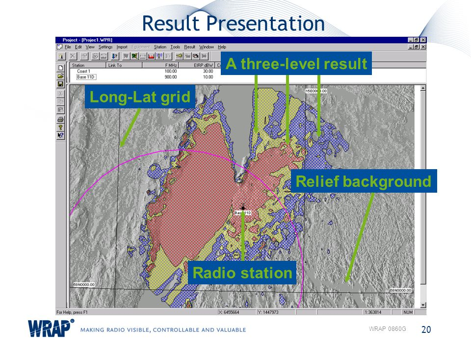 Result Presentation 20 WRAP 0860G Relief background Radio station Long-Lat grid A three-level result