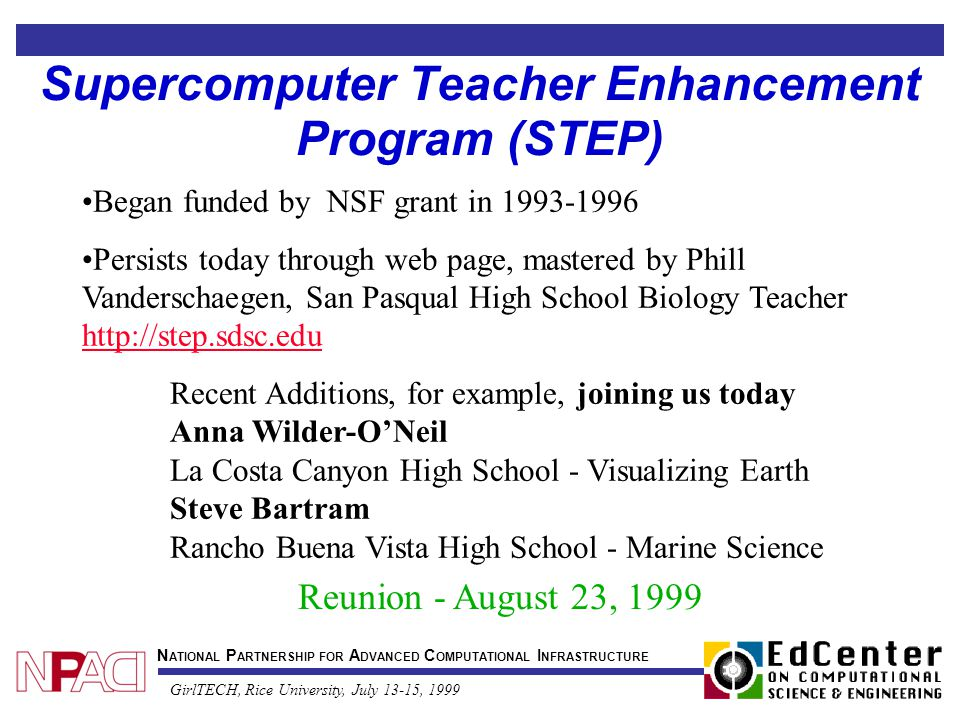 N ATIONAL P ARTNERSHIP FOR A DVANCED C OMPUTATIONAL I NFRASTRUCTURE GirlTECH, Rice University, July 13-15, 1999 Supercomputer Teacher Enhancement Program (STEP) Began funded by NSF grant in 1993-1996 Persists today through web page, mastered by Phill Vanderschaegen, San Pasqual High School Biology Teacher http://step.sdsc.edu http://step.sdsc.edu Reunion - August 23, 1999 Recent Additions, for example, joining us today Anna Wilder-O'Neil La Costa Canyon High School - Visualizing Earth Steve Bartram Rancho Buena Vista High School - Marine Science