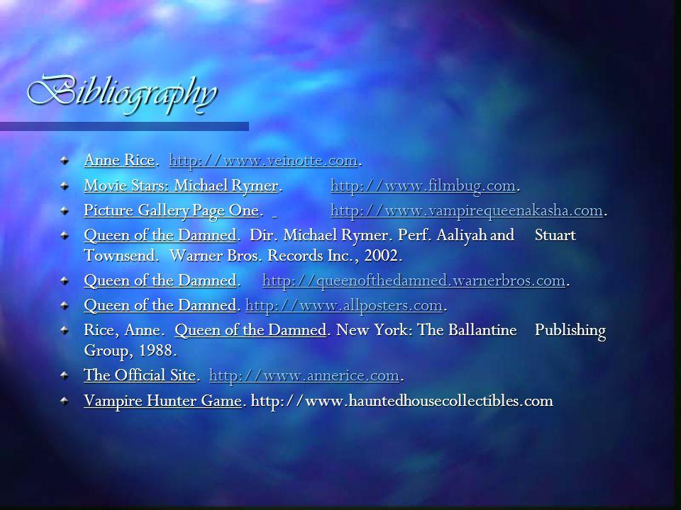 Bibliography Anne Rice. http://www.veinotte.com.
