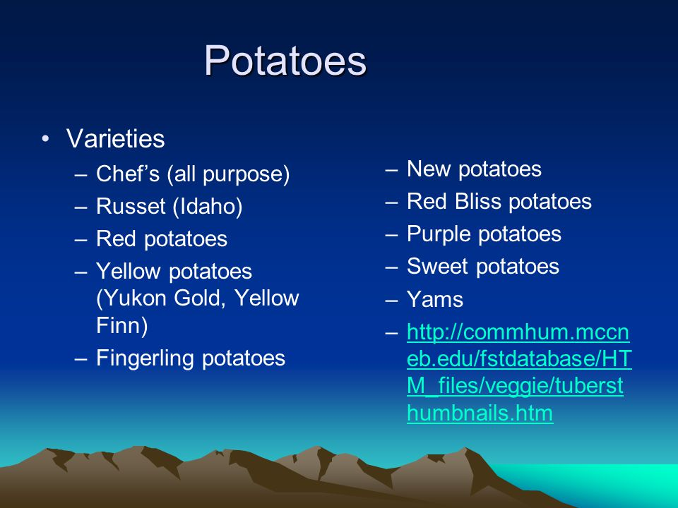 Student objectives Identify basic varieties of potatoes, their types and best uses for each Distinguish the characteristics of potatoes and how to store them Identify basic potato handling and preparation methods Successfully team-prepare an instructor-selected potato recipe Identify the major varieties of rice and their cooking characteristics Identify basic rice handling and preparation methods Successfully team-prepare an instructor-selected rice recipe Identify at least twelve varieties (shapes) of commercial pasta and their intended use or type of companion sauce Successfully team-prepare an instructor-selected pasta recipe Identify at least three varieties of stuffed pasta