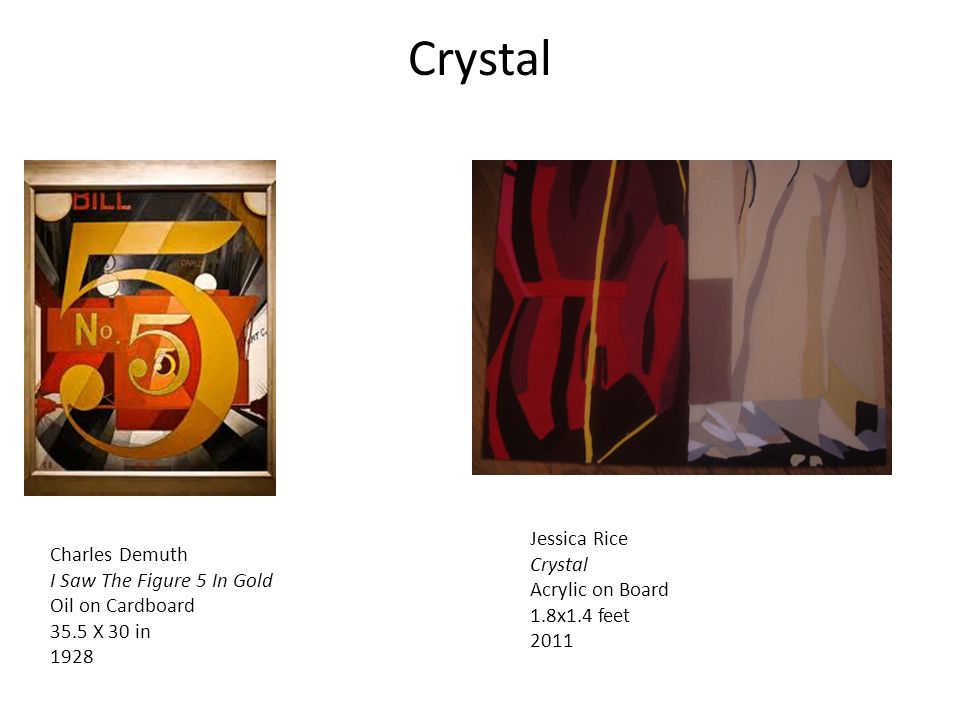 Crystal Charles Demuth I Saw The Figure 5 In Gold Oil on Cardboard 35.5 X 30 in 1928 Jessica Rice Crystal Acrylic on Board 1.8x1.4 feet 2011