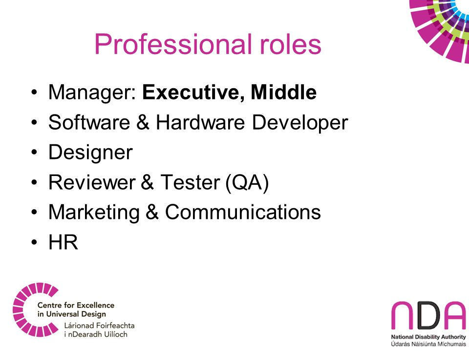 Professional roles Manager: Executive, Middle Software & Hardware Developer Designer Reviewer & Tester (QA) Marketing & Communications HR