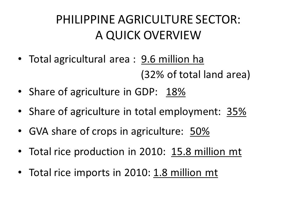 PHILIPPINE AGRICULTURE SECTOR: A QUICK OVERVIEW Total agricultural area : 9.6 million ha (32% of total land area) Share of agriculture in GDP: 18% Sha