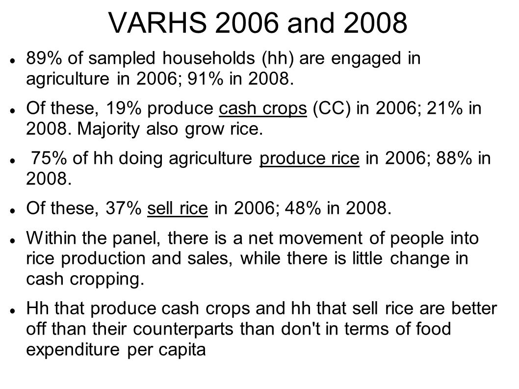 VARHS 2006 and 2008 89% of sampled households (hh) are engaged in agriculture in 2006; 91% in 2008.