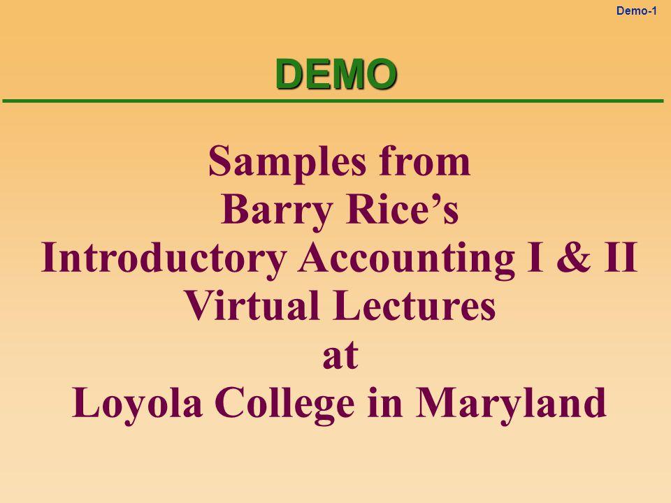 Demo-11 The Closing Process Close Revenues Close Expenses