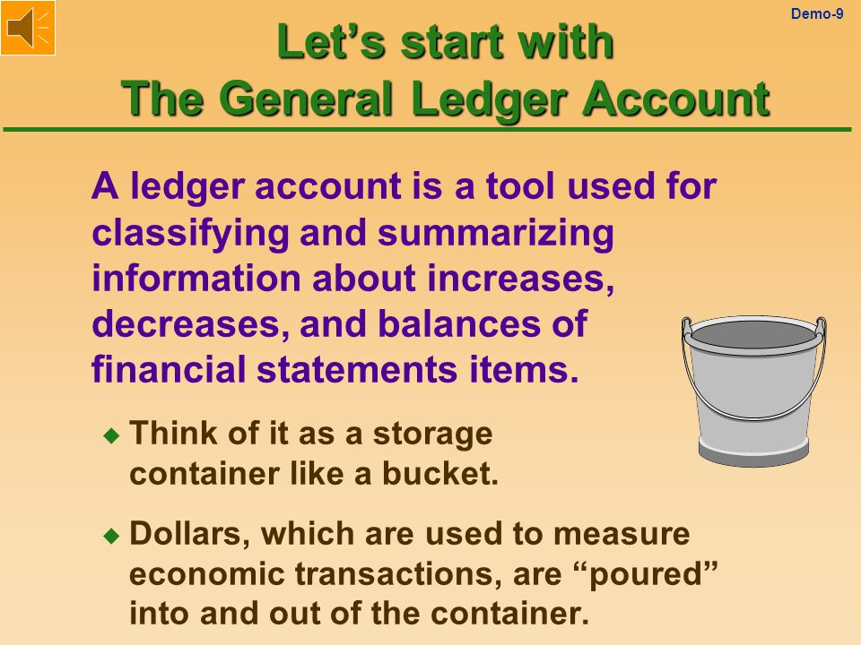 Demo-9 Let's start with The General Ledger Account A ledger account is a tool used for classifying and summarizing information about increases, decreases, and balances of financial statements items.