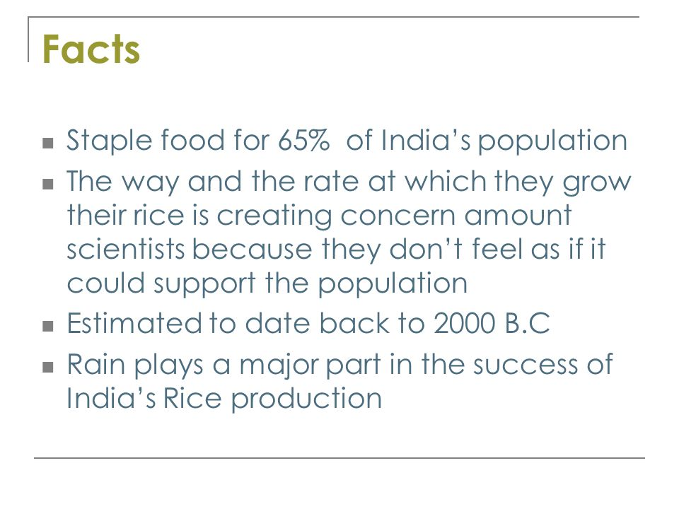 Facts Staple food for 65% of India's population The way and the rate at which they grow their rice is creating concern amount scientists because they don't feel as if it could support the population Estimated to date back to 2000 B.C Rain plays a major part in the success of India's Rice production