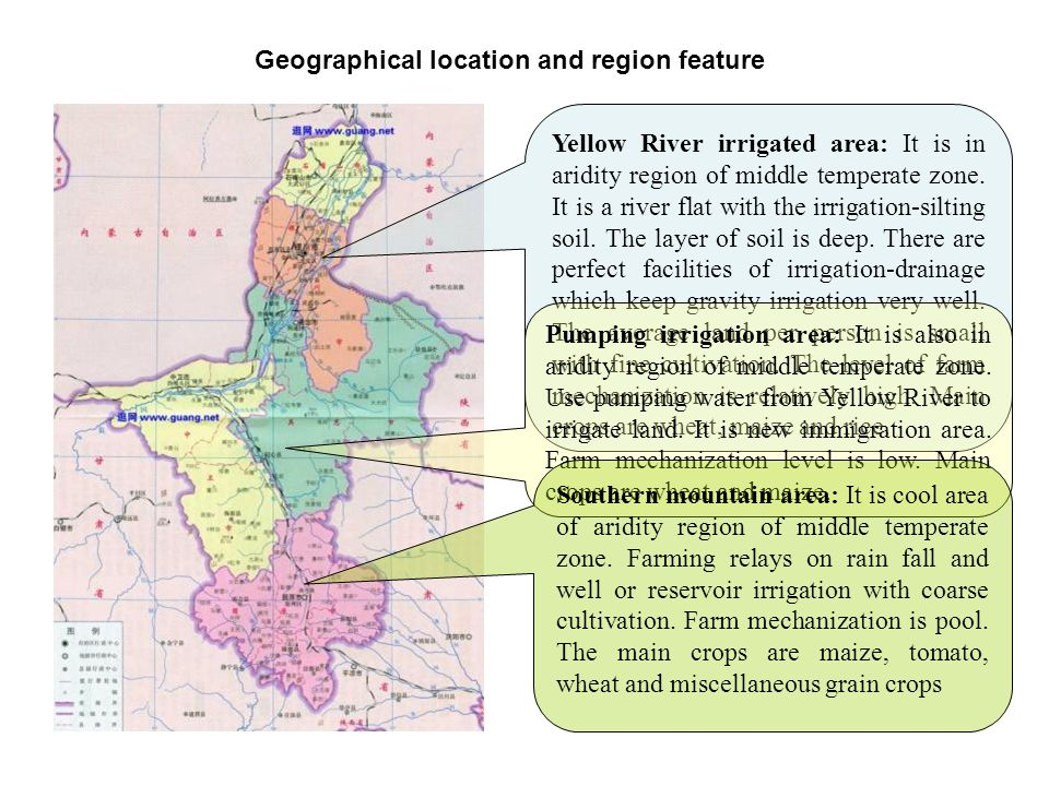 Geographical location and region feature Yellow River irrigated area: It is in aridity region of middle temperate zone.