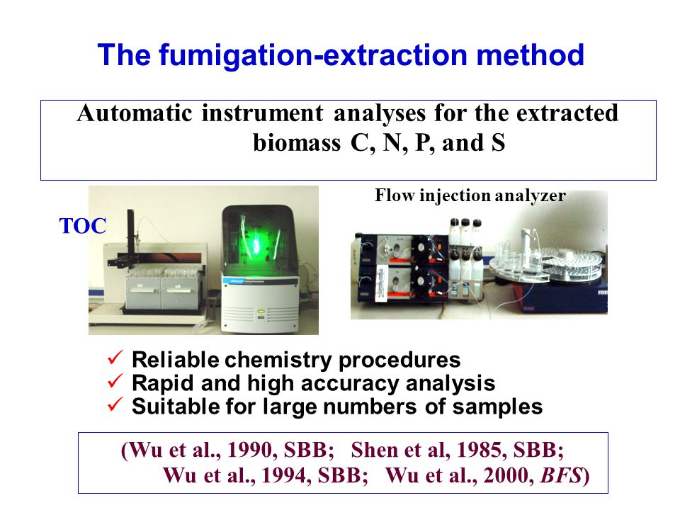 TOC Reliable chemistry procedures Rapid and high accuracy analysis Suitable for large numbers of samples The fumigation-extraction method Automatic instrument analyses for the extracted biomass C, N, P, and S (Wu et al., 1990, SBB; Shen et al, 1985, SBB; Wu et al., 1994, SBB; Wu et al., 2000, BFS) Flow injection analyzer