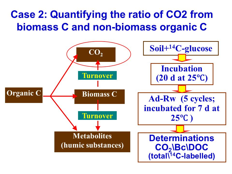 Organic C Biomass C Metabolites (humic substances) CO 2 Turnover Case 2: Quantifying the ratio of CO2 from biomass C and non-biomass organic C Soil+ 14 C-glucose Incubation (20 d at 25 ℃ ) Ad-Rw (5 cycles; incubated for 7 d at 25 ℃ ) Determinations CO 2 \Bc\DOC (total\ 14 C-labelled)