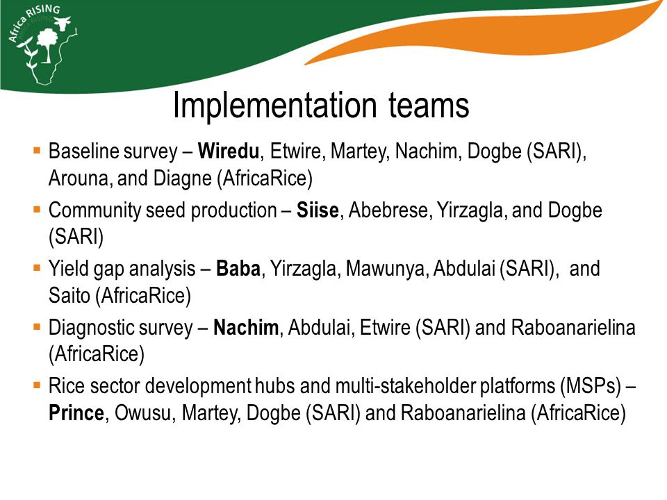  Baseline survey – Wiredu, Etwire, Martey, Nachim, Dogbe (SARI), Arouna, and Diagne (AfricaRice)  Community seed production – Siise, Abebrese, Yirzagla, and Dogbe (SARI)  Yield gap analysis – Baba, Yirzagla, Mawunya, Abdulai (SARI), and Saito (AfricaRice)  Diagnostic survey – Nachim, Abdulai, Etwire (SARI) and Raboanarielina (AfricaRice)  Rice sector development hubs and multi-stakeholder platforms (MSPs) – Prince, Owusu, Martey, Dogbe (SARI) and Raboanarielina (AfricaRice) Implementation teams