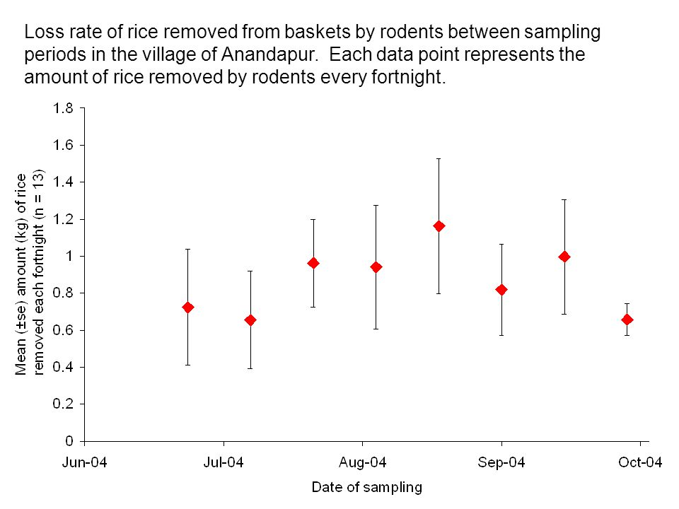 Loss rate of rice removed from baskets by rodents between sampling periods in the village of Anandapur. Each data point represents the amount of rice
