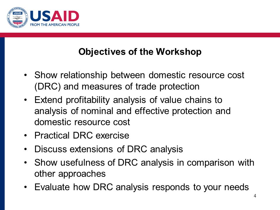 Objectives of the Workshop Show relationship between domestic resource cost (DRC) and measures of trade protection Extend profitability analysis of va