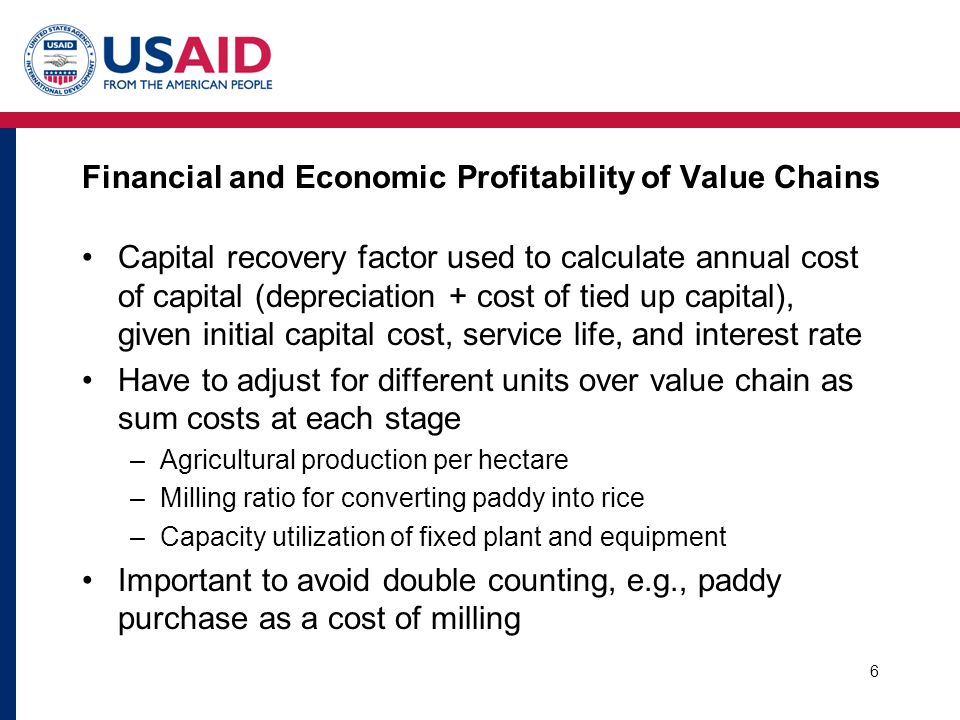 Financial and Economic Profitability of Value Chains Capital recovery factor used to calculate annual cost of capital (depreciation + cost of tied up