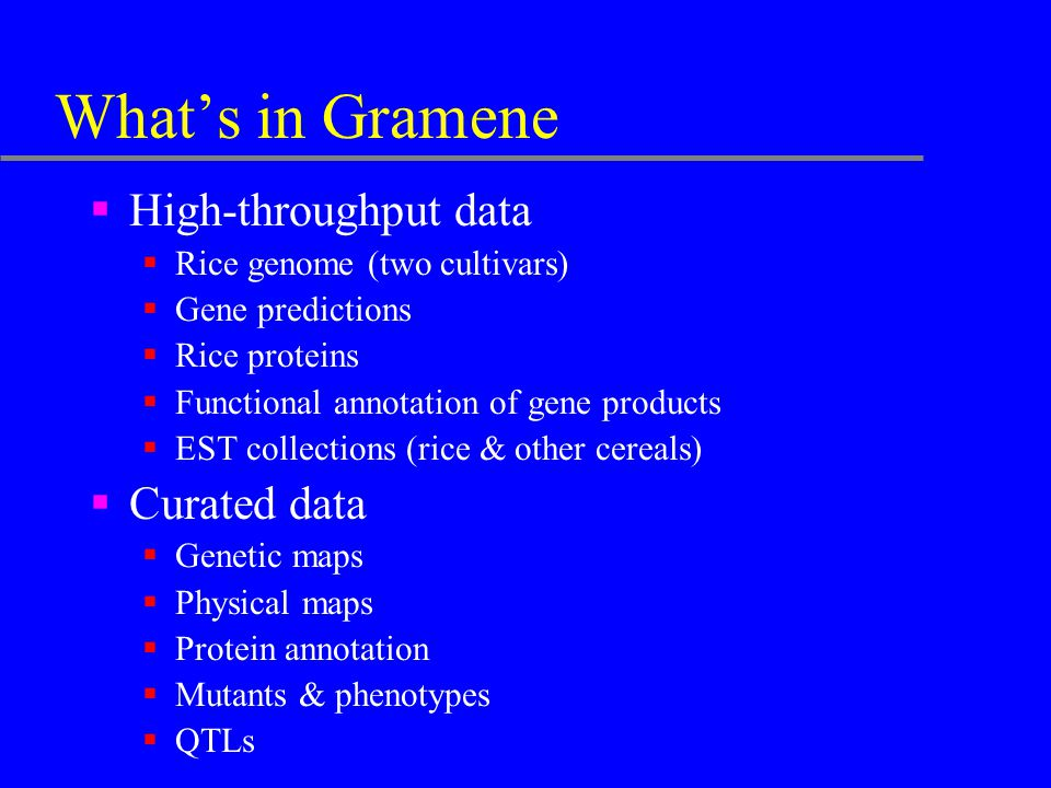 What's in Gramene  High-throughput data  Rice genome (two cultivars)  Gene predictions  Rice proteins  Functional annotation of gene products  E