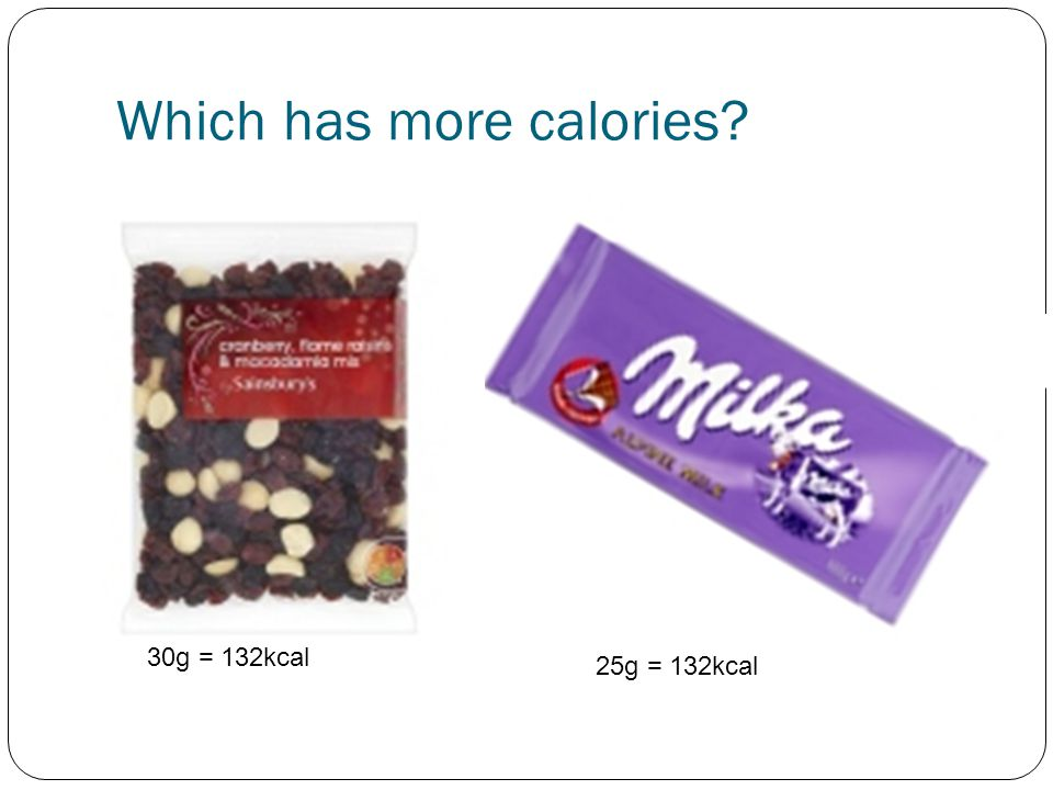 Which has more calories? 30g = 132kcal 25g = 132kcal