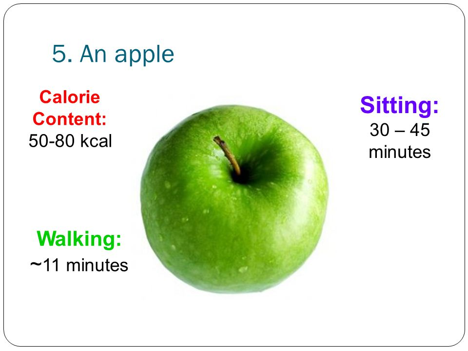 5. An apple Walking: ~ 11 minutes Sitting: 30 – 45 minutes Calorie Content: 50-80 kcal