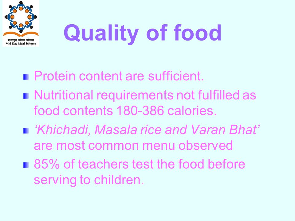 Quality of food Protein content are sufficient.