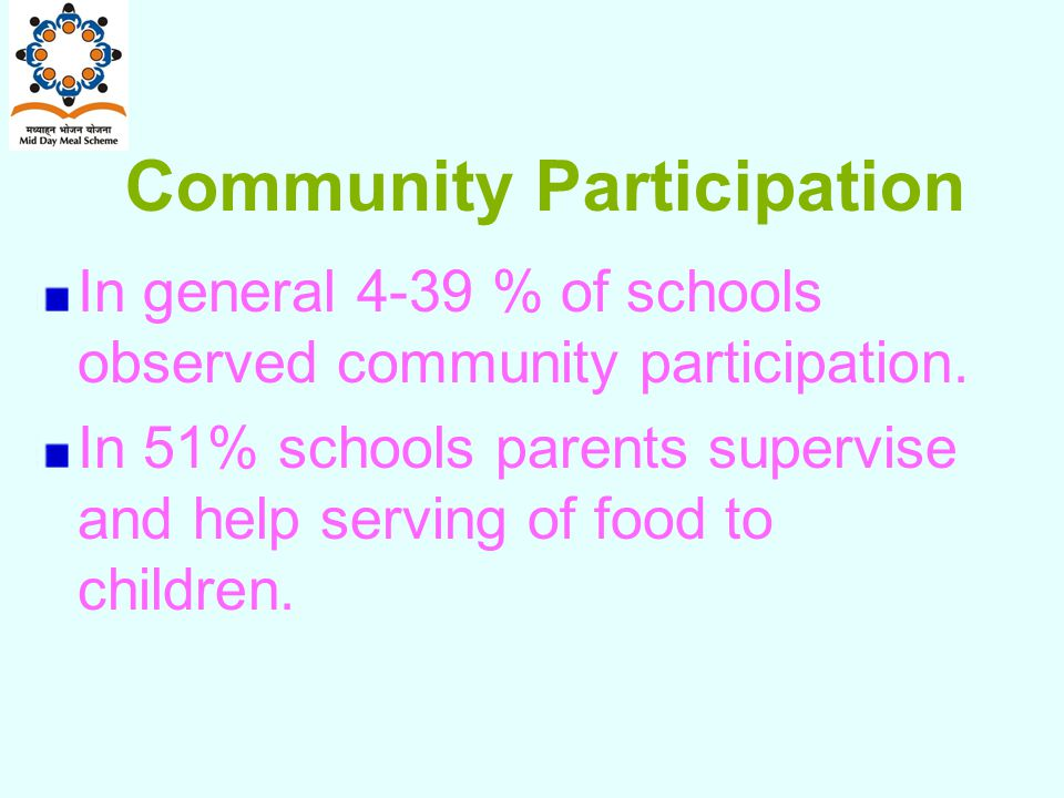 Community Participation In general 4-39 % of schools observed community participation.