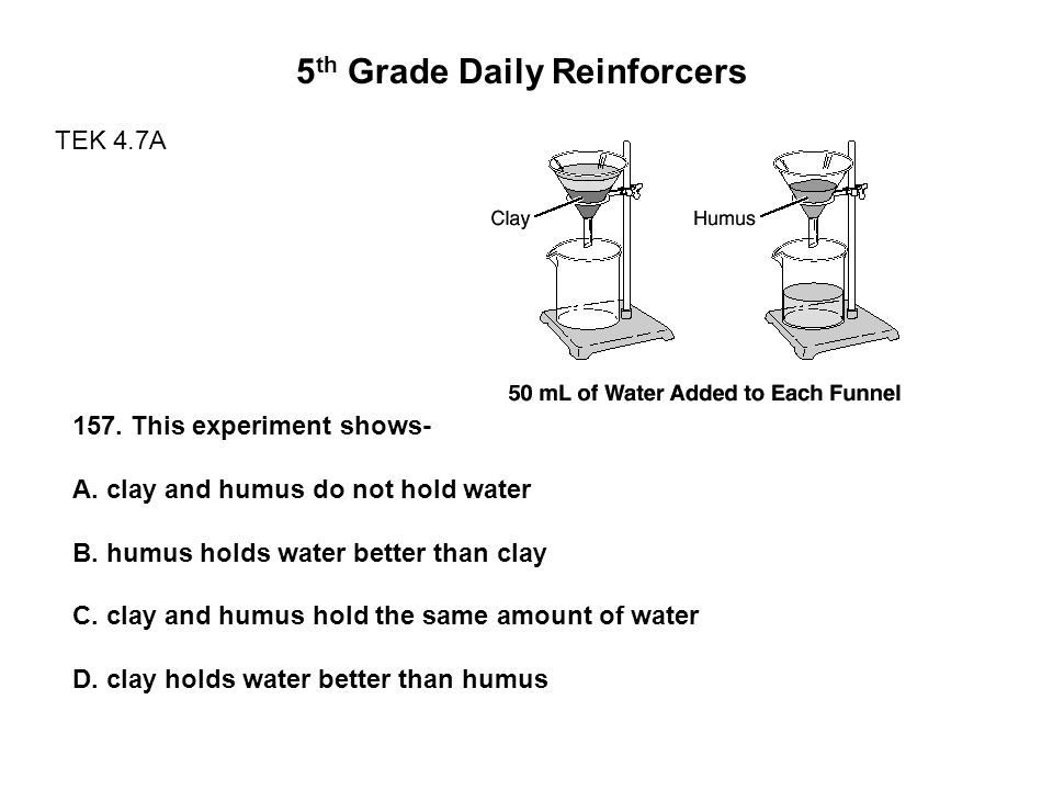 5 th Grade Daily Reinforcers TEK 4.7A 157. This experiment shows- A.
