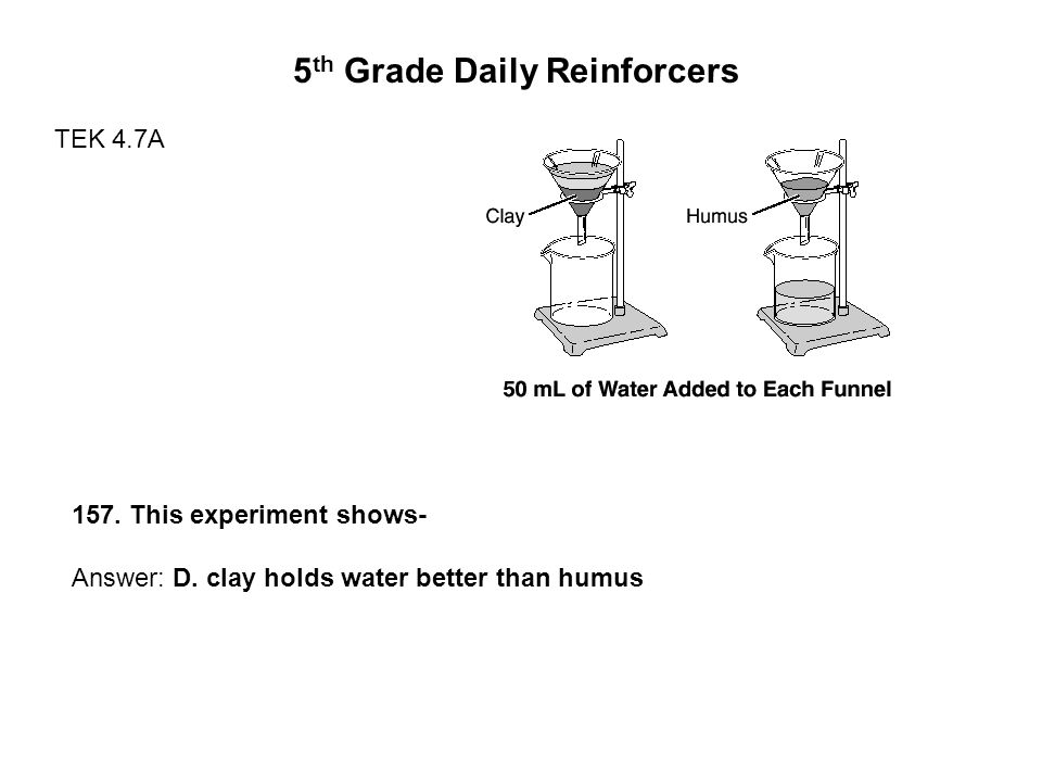 5 th Grade Daily Reinforcers TEK 4.7A 157. This experiment shows- Answer: D.