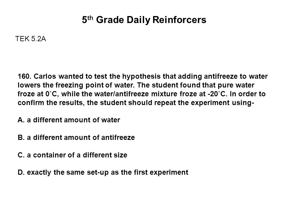 5 th Grade Daily Reinforcers TEK 5.2A 160.