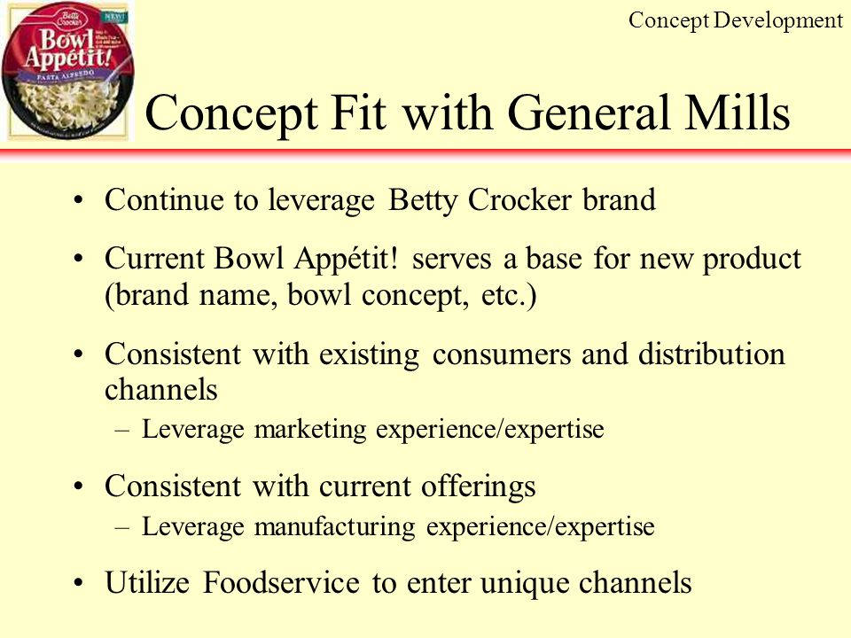 Concept Fit with General Mills Continue to leverage Betty Crocker brand Current Bowl Appétit.