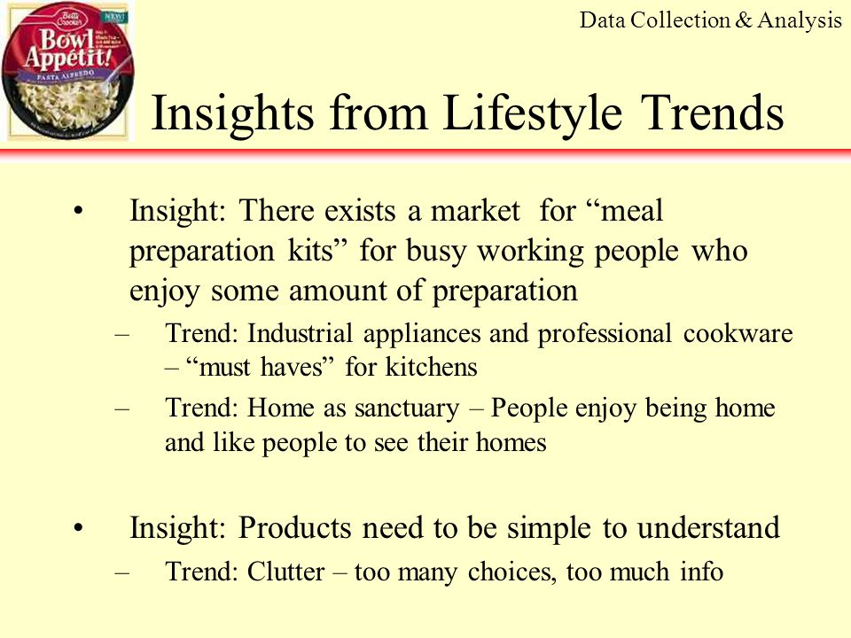 Learnings from Retail Trends Learning: Convenient meal category is highly competitive but growing –9,248 new products introduced in 2000; 550 in the meal/meal center category –Continued increase in private label spending (20.1% market share, 15.7% dollar share) –Innovations increasing Healthy ingredients such as calcium and fiber are being added Organic and all natural products Convenience foods such as meal kits Data Collection & Analysis