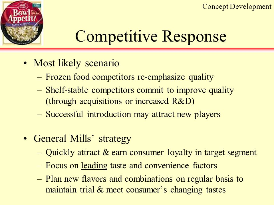 Competitive Response Most likely scenario –Frozen food competitors re-emphasize quality –Shelf-stable competitors commit to improve quality (through acquisitions or increased R&D) –Successful introduction may attract new players General Mills' strategy –Quickly attract & earn consumer loyalty in target segment –Focus on leading taste and convenience factors –Plan new flavors and combinations on regular basis to maintain trial & meet consumer's changing tastes Concept Development