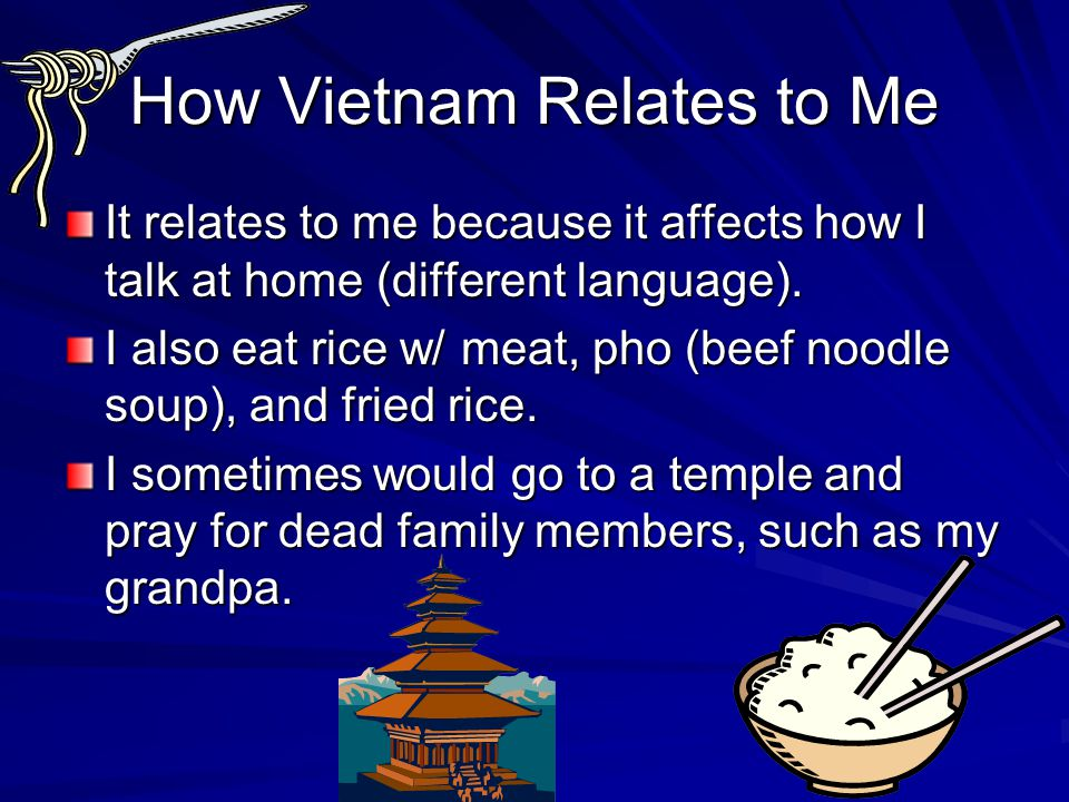 How Vietnam Relates to Me It relates to me because it affects how I talk at home (different language).