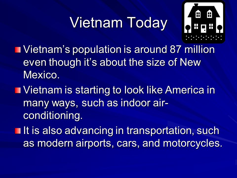 Vietnam Today Vietnam's population is around 87 million even though it's about the size of New Mexico.