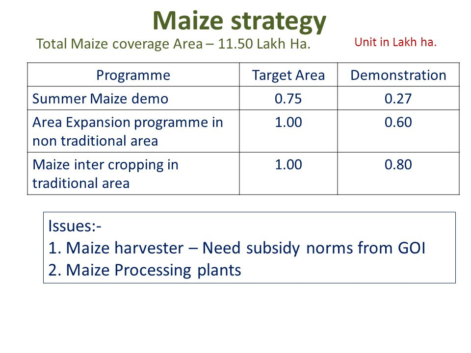 Maize strategy ProgrammeTarget AreaDemonstration Summer Maize demo0.750.27 Area Expansion programme in non traditional area 1.000.60 Maize inter cropping in traditional area 1.000.80 Unit in Lakh ha.